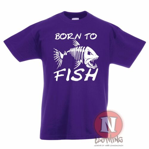 Born to fish Childrens Kids t-shirt 3-13 years skeleton scary fishing angling
