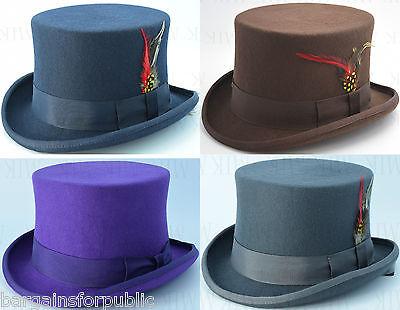 Cooperativa Nuovo Uomo Donna Unisex King Ghiaccio 100% Lana Qualità Hand Made Top Hat Taglia S M X-l-mostra Il Titolo Originale