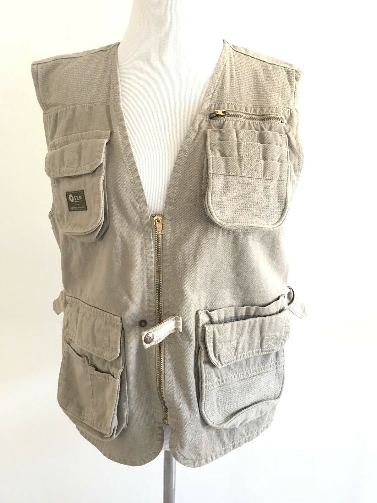 Mens Fishing Vest Storage Oslo Size 14 Hunting Utilitarian Gear Top Brown