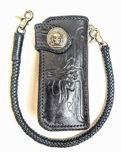 Biker-Chain-Wallet-motorcycle-trucker-wild-west-longhorn-skull-tooled-Leather