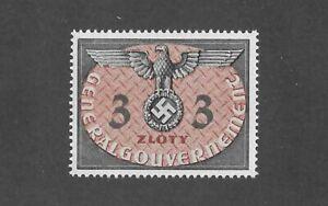 MNH 1940 stamp 3 ZL / WWII Symbol /  Germany Occupied Poland / Third Reich