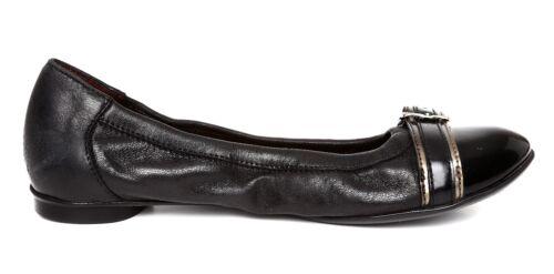Attilio Leombruni Flat Leather Buckle 38 Ballet 5642 Sz Women's Black Giusti rU5CxwSq7r
