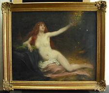 Adrien Henri TANOUX Nu de femme au diadème époque art nouveau c1900 paint 62 cm
