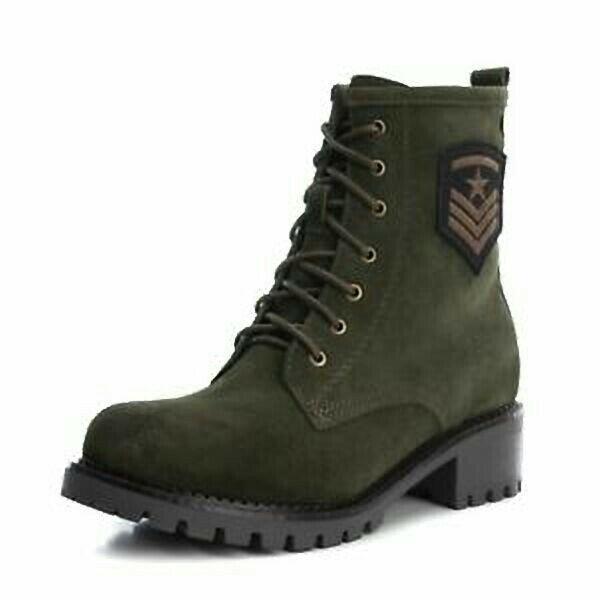 Nuevo Y En Caja Carmela ante verde de estilo militar botas Sz 38 Reino Unido 5 RRP
