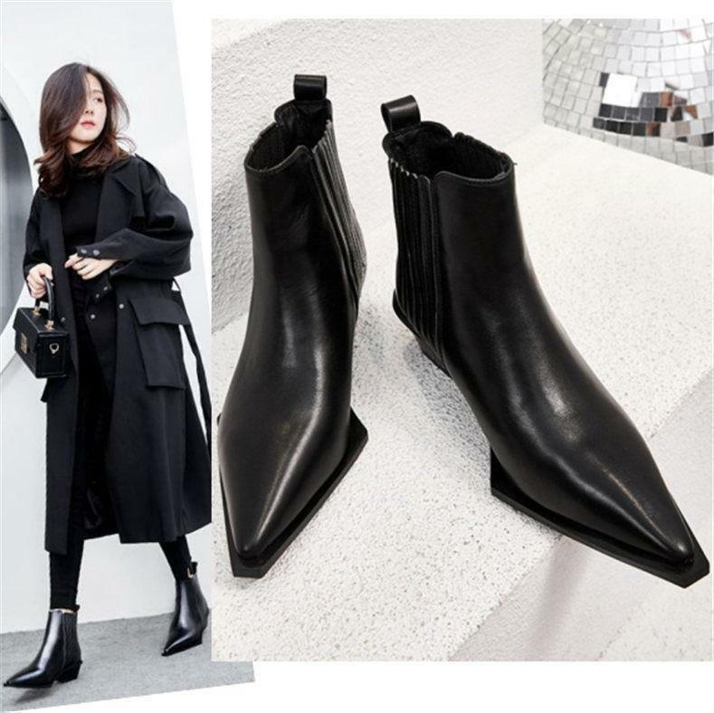 Black Women White Ankle Boots Chelsea Women Black Cow Leather Pointed Toe Low Heel Oxfords 7ba140