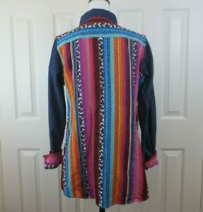 CRAZY-TRAIN-Women-039-s-Denim-Shirt-Front-Ranchero-Serape-Back-Button-Up-Sz-LARGE