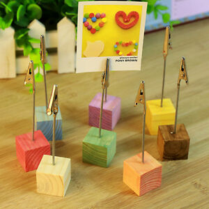 Wooden Memo Paper Note Picture Table Card Number Photo Clip Holder E&F