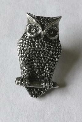 Owl Pewter Brooch Nocturnal Barn Tawny Pin Badge Made in UK Bird of Prey