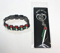 Lot Of 2: Palestine Flag Map Keychain And Chrome Palestine Flags Bracelet 19