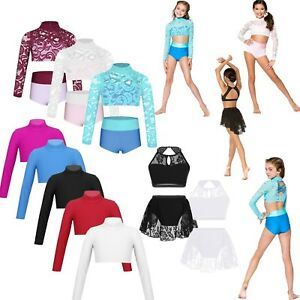 Girls-Kids-Dance-Gym-Ballet-Dress-Gymnastics-Leotard-Crop-Tops-Shorts-Dancewear
