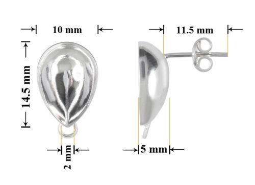 Sterling Silber Ohrstecker mit Schleife für Kleben 4320 10mm 14mm Strass Steine