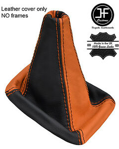 Black & Orange Real Leather Gear Gaiter Fits Mitsubishi Lancer Evo 4 5 6 Iv V Vi-afficher Le Titre D'origine