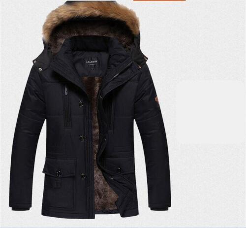 2018 Mens Thicken windproof Jacket Coat Snow Outwear Faux fur hood Parkas Vogue