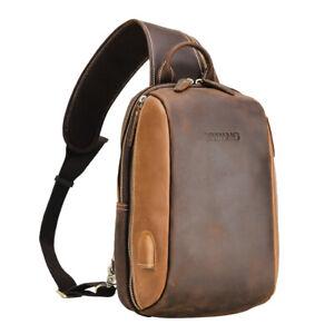 Men-Vintage-Real-Leather-Single-Strap-Shoulder-Bag-Sling-Bag-Chest-Pack-Backpack