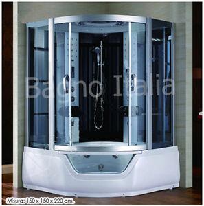 Cabina con vasca idromassaggio 150x150 bianca grigia bagno turco full optional 1 ebay - Cabina doccia con vasca ...
