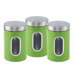 Stainless-steel-Canister-set-3-pcs-with-Window-in-6-colours-Green