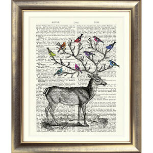 ART-PRINT-ON-ORIGINAL-ANTIQUE-BOOK-PAGE-Stag-Birds-Dictionary-Vintage-Upcycled