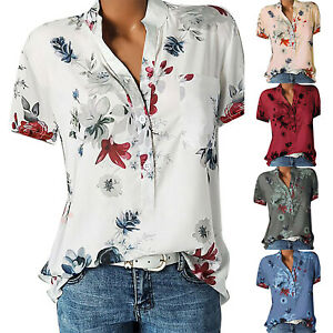 Womens-Short-Sleeve-Floral-V-Neck-Tee-T-Shirts-Blouse-Loose-Tunic-Tops-Plus-Size