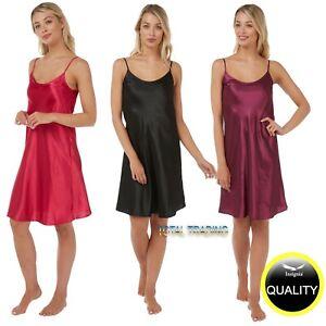 Ladies Womens Silky Satin Chemise Nightdress Nighty Nightshirt Nightie  REGULAR