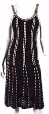 TEMPERLEY LONDON Black & Champagne Gold Striped Knit Dress 8 12UK