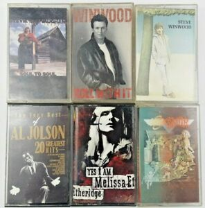 Lot-of-6-Classic-Rock-amp-Jazz-Music-Cassette-Tapes-Winwood-Ray-Vaughan-Jolson