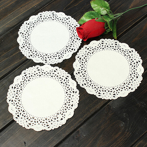 "5.5"" 14cm White Round Lace Paper Doilies Decor Craft Cup Cake Xmas Wedding Party"