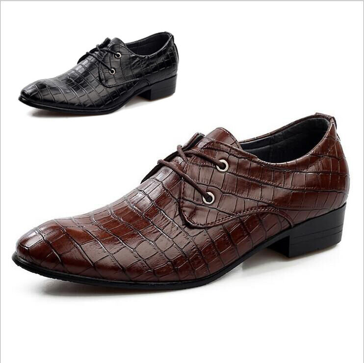 Designer Mens Italian Pointed Shoe Smart Crocodile Leather Italian Mens Oxfords Dress Casual 46d6c3