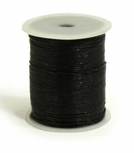 100m-Lederband-schwarz-1-mm-stark-auf-Rolle-Spule-100-Meter