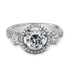 2.29 Ct Round Genuine Moissanite Engagement Ring 14K Solid White Gold Size 6.5 7