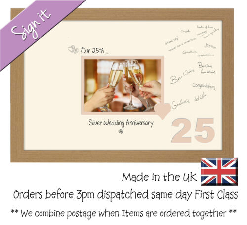 25th Silver Wedding Anniversary Signing Guest Gift Photo Frame 7x5 690D