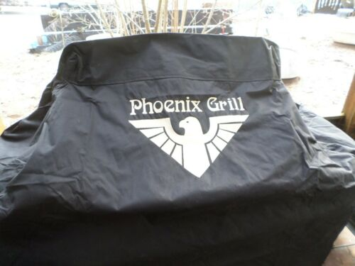 """Phoenix Grill Cover GRL00065-DX 51/"""" Black with Gold Phoenix Embroidered Logo"""