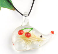 1pc cute hedgehog cherry Lampwork Glass bead pendant Necklace p866_3