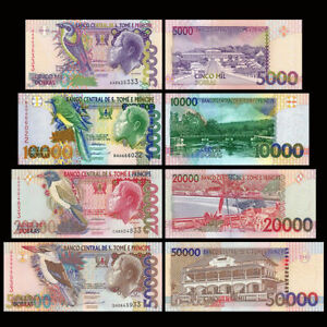 SAINT-THOMAS-AND-PRINCE-SET-4-1996-2004-5000-10000-20000-50000-DOBRAS-NEW-UNC