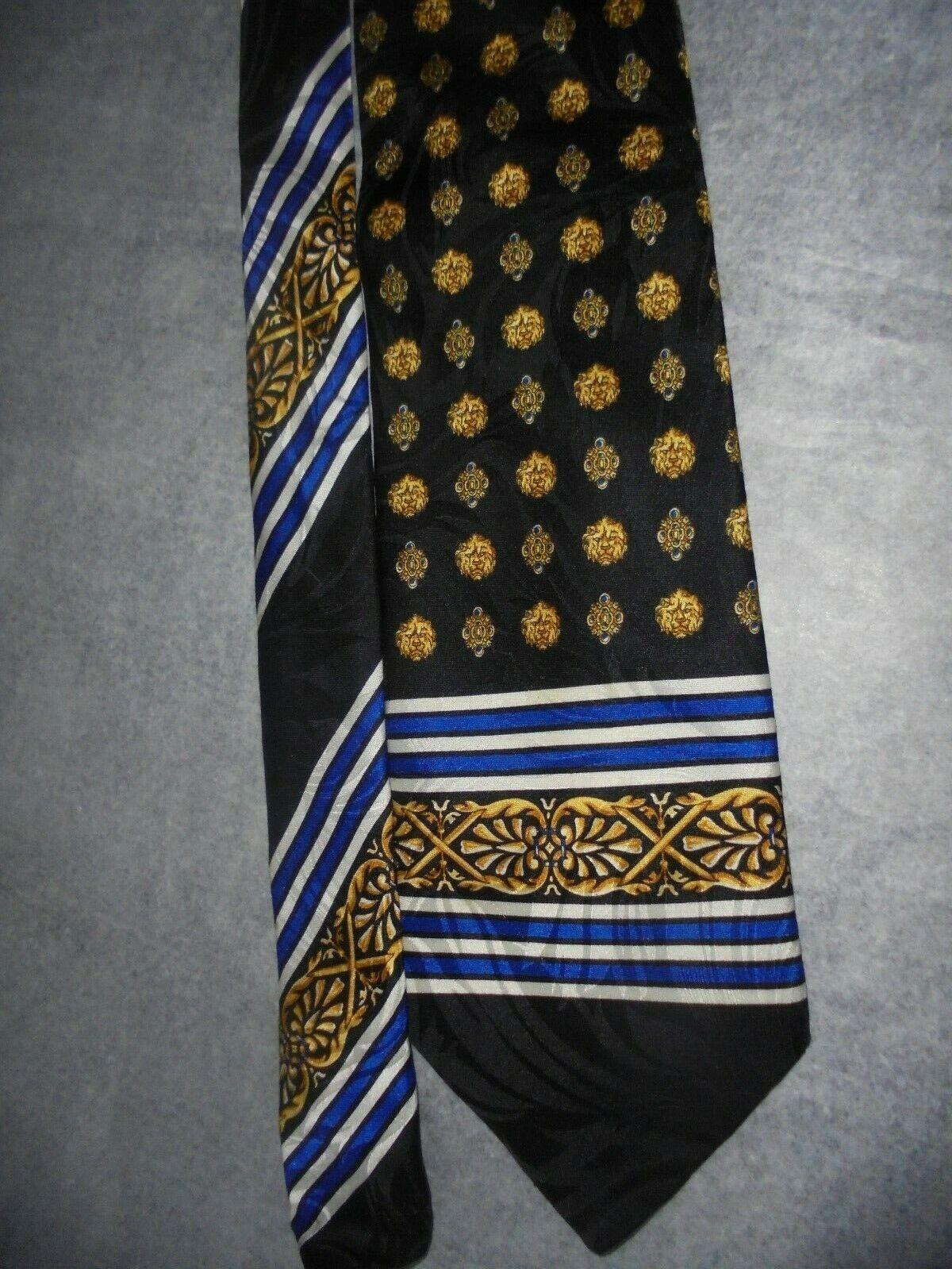 ^ Corbata Seda Baumler Todo Labrado Seda Negro/azul/oro patrón impresionante.