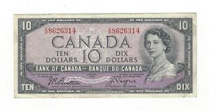 **1954 Devil's Face**Canada $10 Note, Beattie/Coyne BC-32b, Ser# ID 8626314