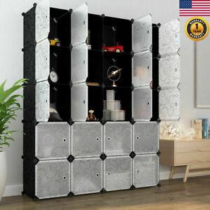20-Cube-Shelf-Closet-Cloth-Modular-Storage-Organizer-Wardrobe-Cabinet-Bookcase