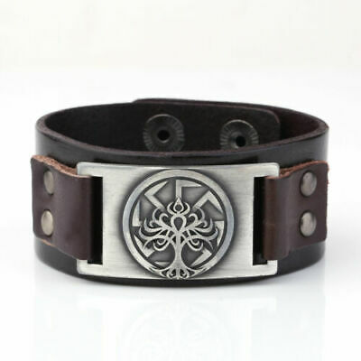 VASSAGO Vintage Punk Slavic Myth Amulet Dragon Kolovrat Sun Wheel Talisman Cuff Leather Bracelet