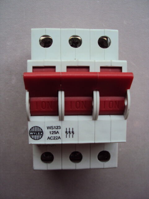 WYLEX WS123 125A AC22A 125 AMP TP IEC60947-3  MAIN SWITCH ISOLATOR DISCONNECTOR
