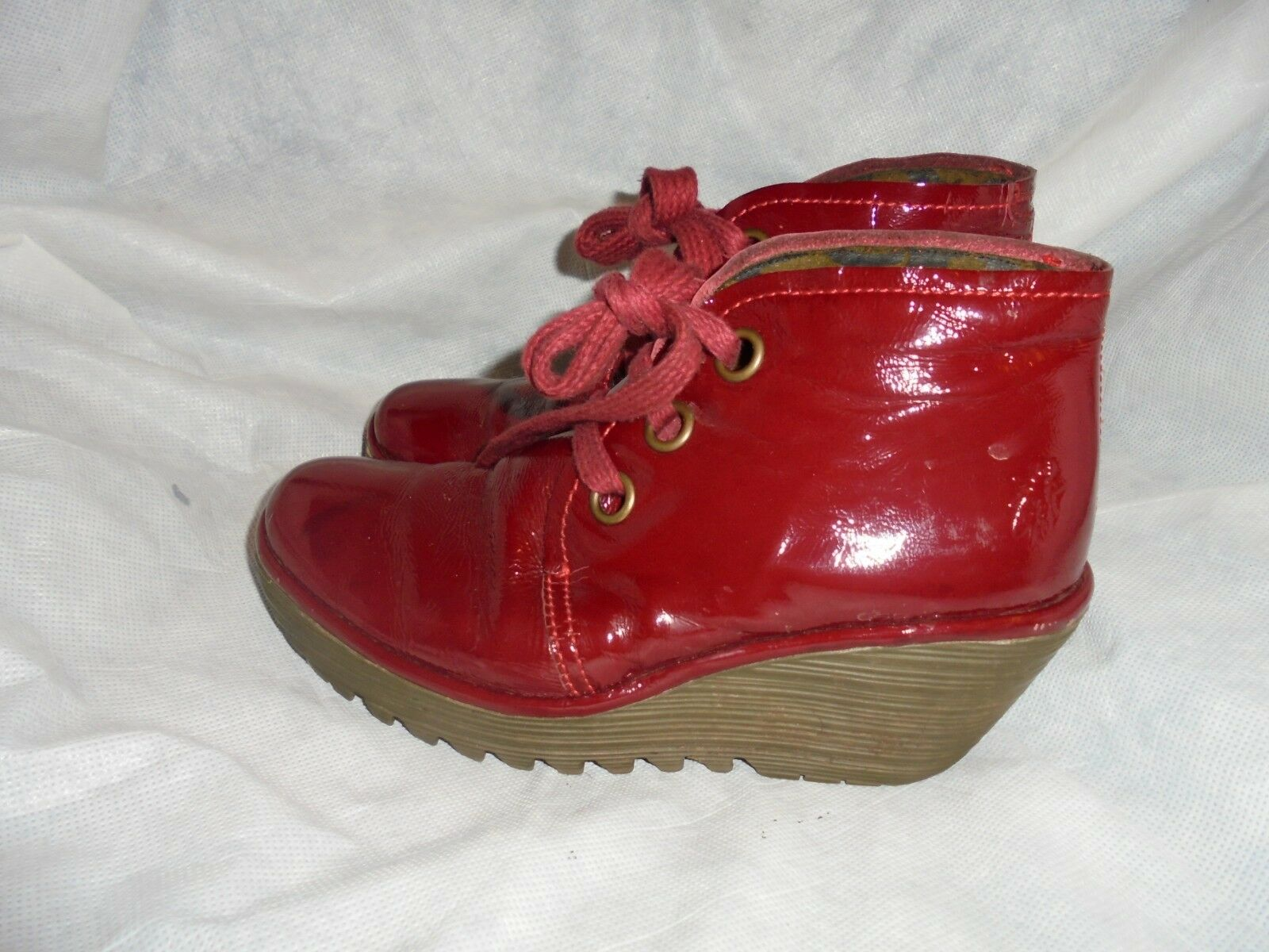 FLY LONDON WOMEN ROT LEATHER LACE UP WEDGE BOOT SHOE SIZE UK 4 EU 37 VGC