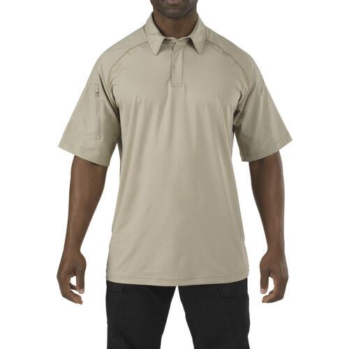 5.11 Rapid Performance Army Polo Mens Short Sleeve Top Patrol Shirt Silver Tan