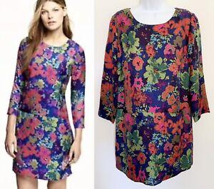 J CREW Womens 100% Silk Jules Ashbury Shift Dress Pockets Floral Colorful Size 6