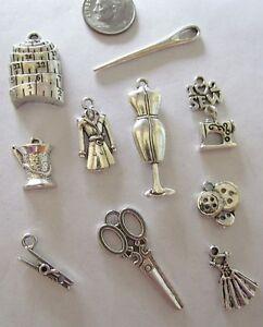 20Pcs Antique Silver Sewing Button Scissors Needle 3D Charms Pendants Beads