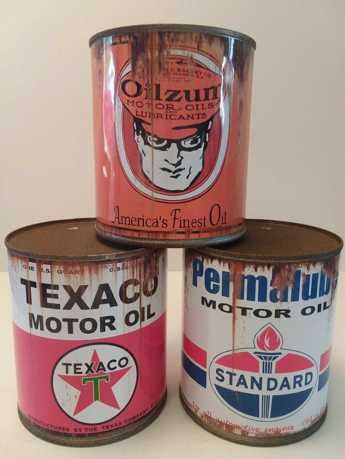 Reproduction Tin Collectible Rusty Texaco Motor Oil Can 1 qt -