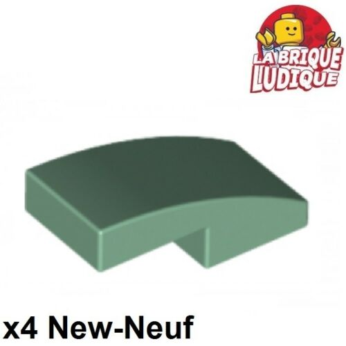 Lego 4x Slope curved pente courbe 1x2 vert pale sable//sand green 11477 NEUF