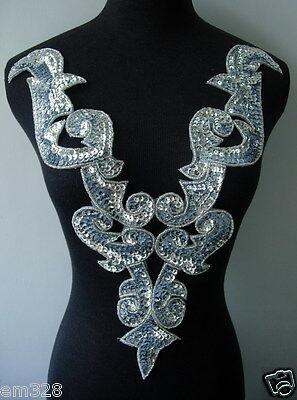 BD01 Huge Silver Bodice Sequin Bead Applique Tutu/Belly Dance/Samba/Designer