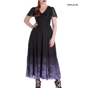 Hell-Bunny-Spin-Doctor-Goth-Maxi-Dress-EVADINE-Purple-Black-All-Sizes