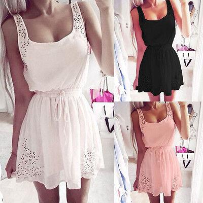 Women's Sleeveless Summer Square Neck Mini Party Beach Dress UK6 8 10 12 14 16