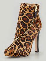 Dvf Diane Von Furstenberg Animal Cady Camel Leopard Calf Fur Zip Trim Ankle Boot