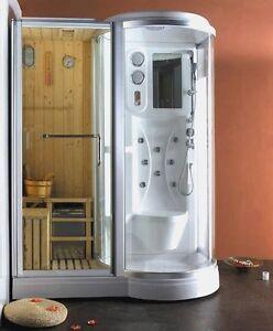 Box doccia idromassaggio 168x95 con sauna finlandese cromoterapia bagno turco da ebay - Doccia bagno turco ...