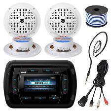 "Pyle PATVR14 Bluetooth USB Marine Radio, 4"" Speaker Set, USBAUX Cable, Antenna"